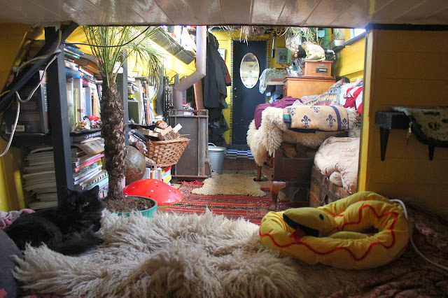 bohemian narrow boat houseboat interior design