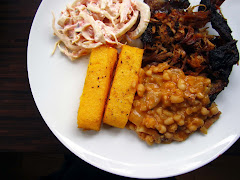 Pulled Pork, Polenta Chips and Baked Beans