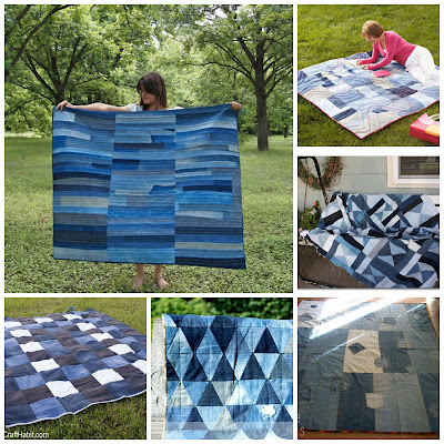 image diy denim jeans blankets repurposed tutorials upcycled picnic