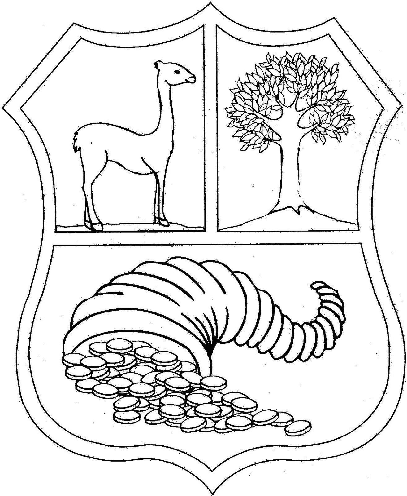 Escudo De Peru Para Colorear