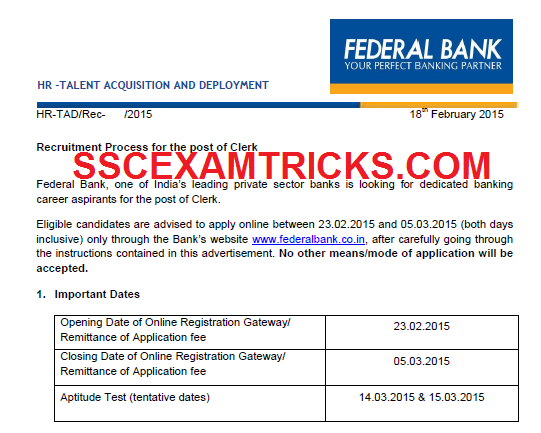 FEDERAL BANK CLERK VACANCIES 2015