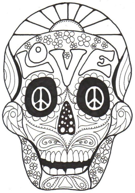 Sassy image pertaining to printable sugar skulls coloring pages
