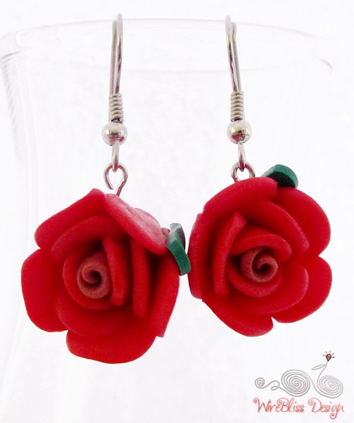 Large glass dangle earrings by WireBliss - rose beads