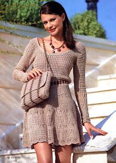 Размер платья 42 Для вязания платья крючком вам потребуется 700 г для.