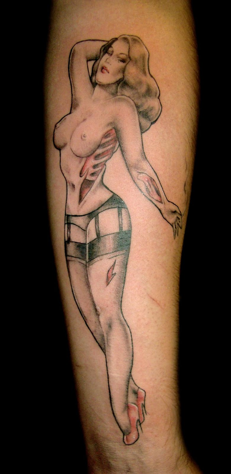 topless pin up girls tattoo