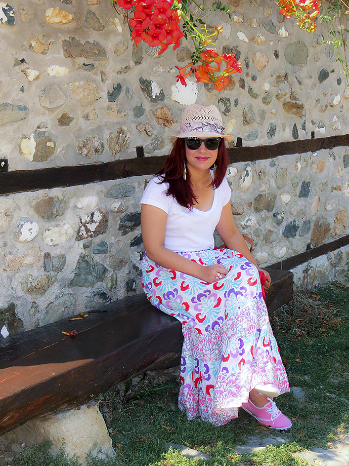Thrifted colorful maxi skirt, Fishbone white v-neck T-shirt, Primark pink tennis shoes, pink HM straw fedora, red Zara bowling bag, Le Specs Revolver sunnies