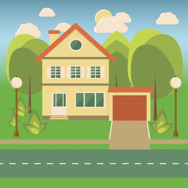 ilustração casa com garagem anexa e jardim
