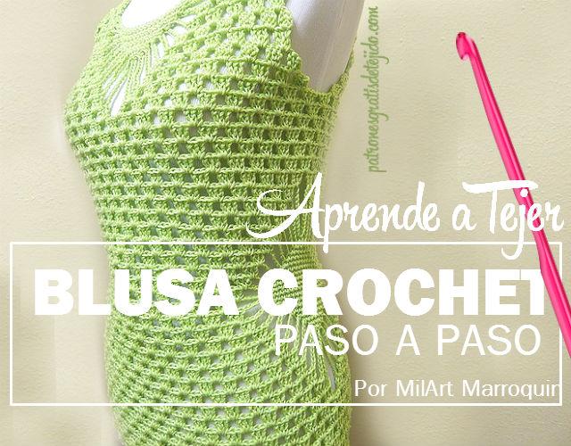 Tutorial de blusa tejida al crochet en verde limón