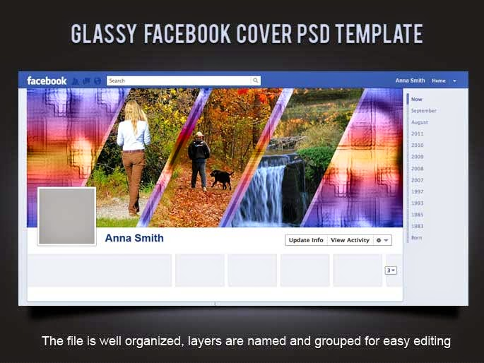 Glassy Facebook Cover PSD Template