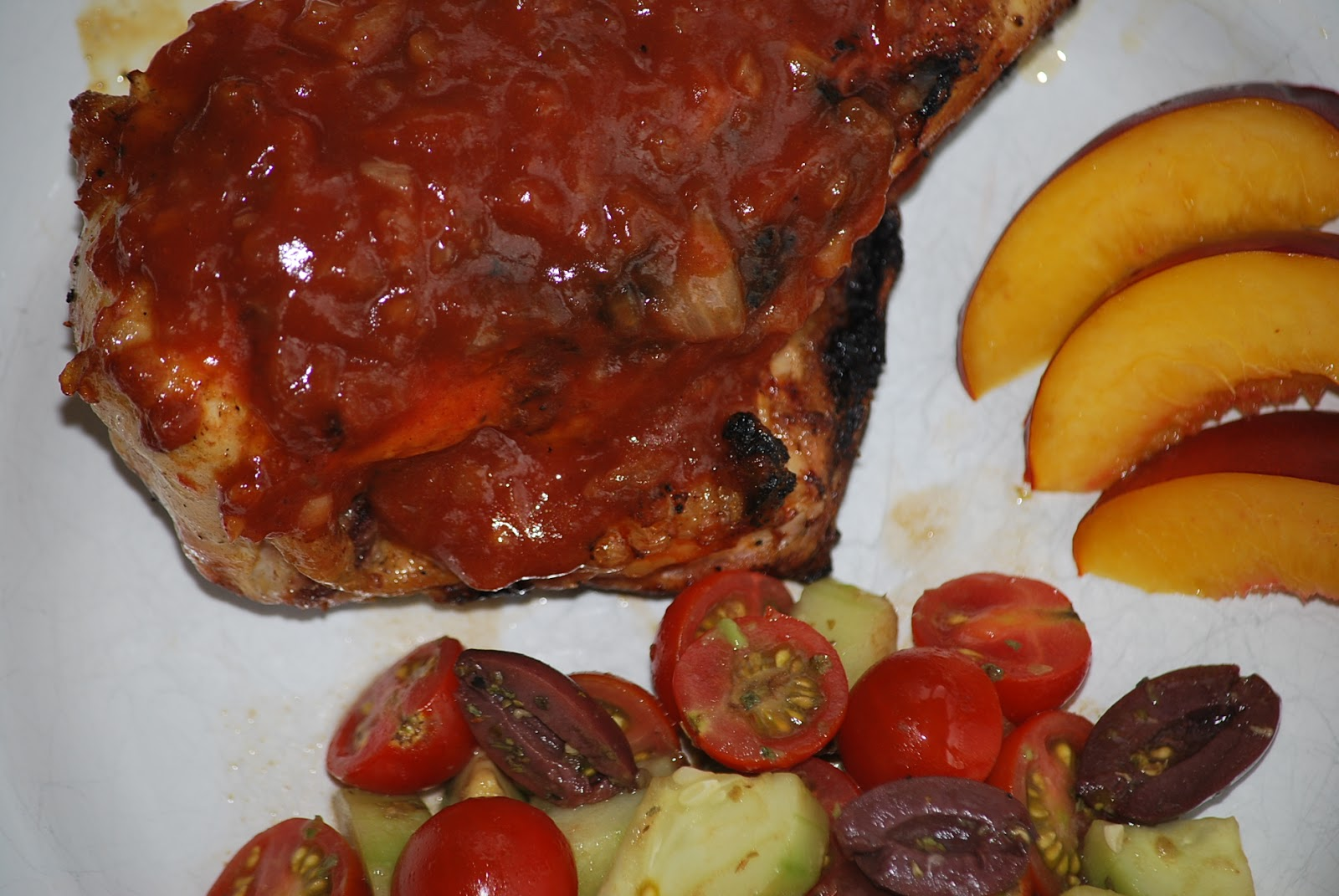 ... served my BBQ chicken with a fresh tomato salad and nectarine slices