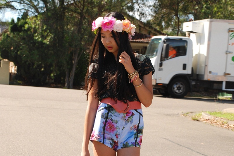 floral crown, spring, style, fashion blogger, street style, personal style, outfit, floral shorts, black lace, arm candy
