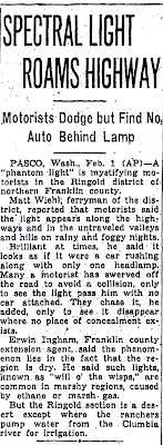Spectral Light Roams Highway - Sunday Oregonian 2-2-1936