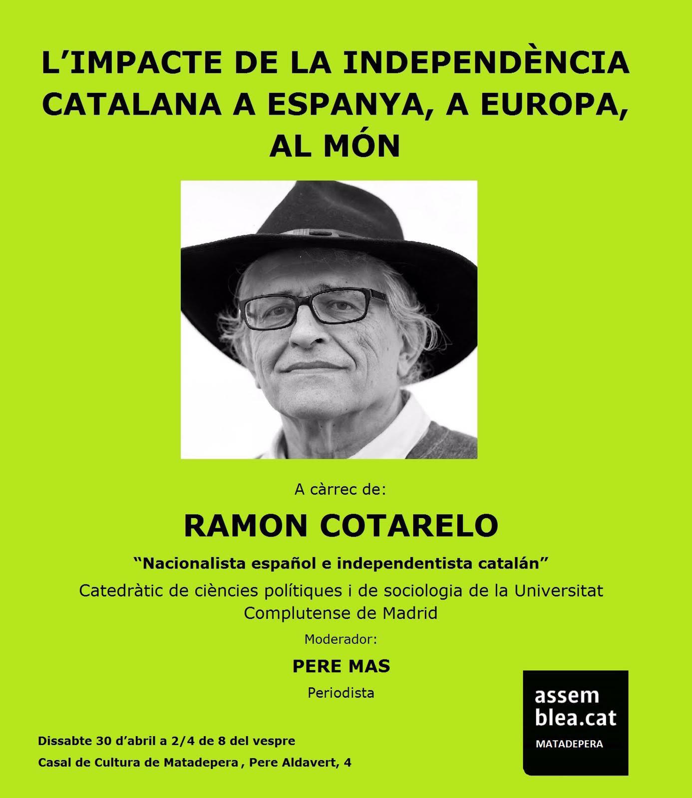 Mañana, sábado, en Matadepera sobre la propera República catalana en el Món.