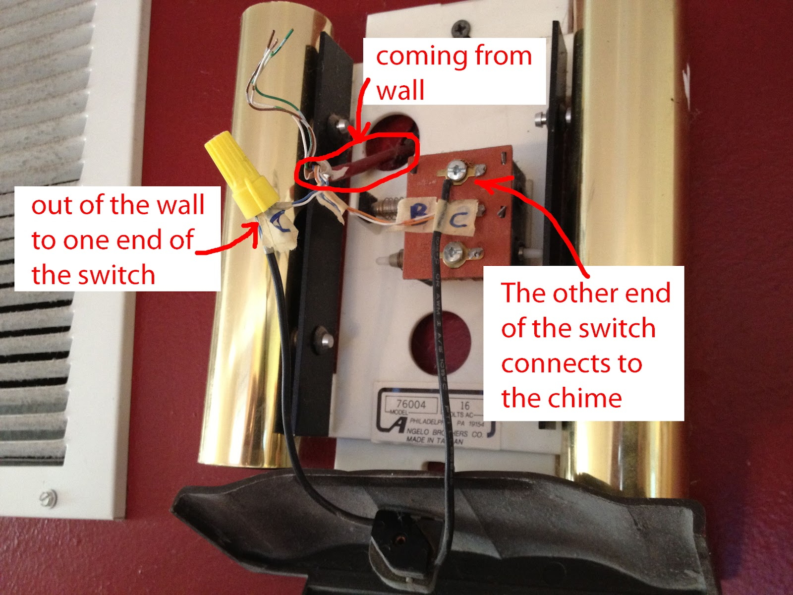 How To Install An On Off Switch Your Doorbell Chime Share Electrical Wiring For The Easiest Way Is Simply Use A Wire Nut Connect If You Really Wanted Be Cute Could Solder Them And Shrink Tubing