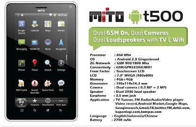 Spesifikasi Mito T500 :