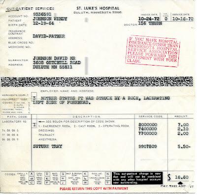 hospital bill from 1964