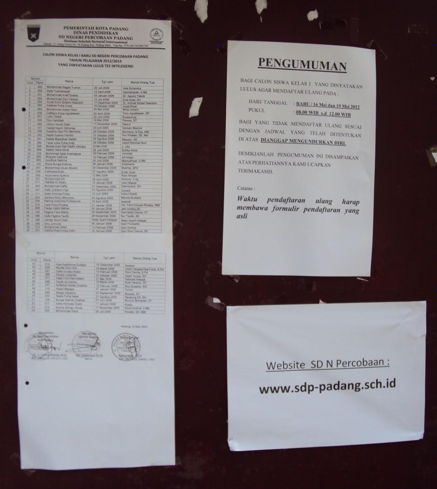 Pengumuman SD Percobaan Padang