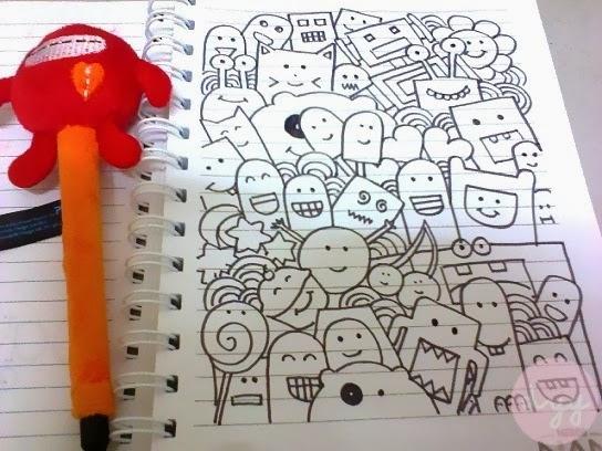 Random Doodle Art Di Dalam Notebook