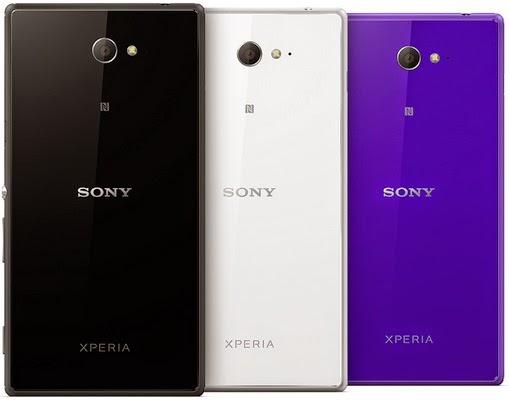 Sony Xperia M2 hitam, putih dan ungu