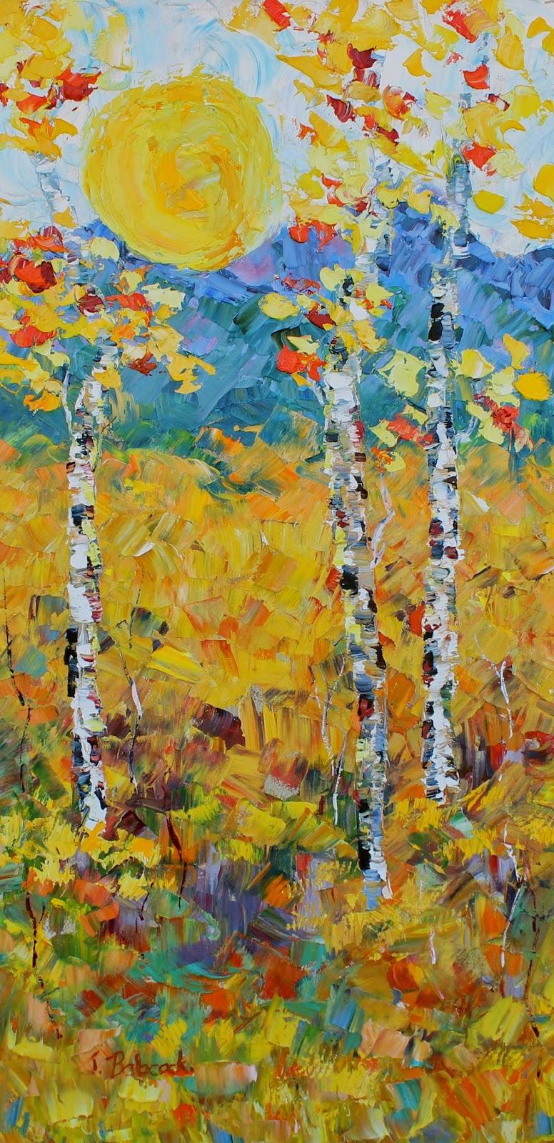 Landscape Artists International Original Palette Knife Aspen Tree