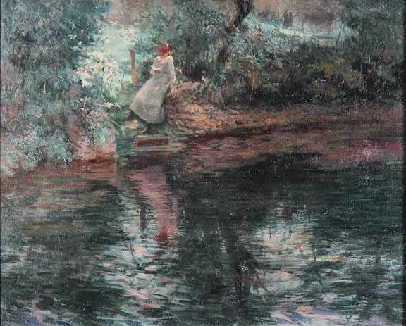 pintura de leitura no rio