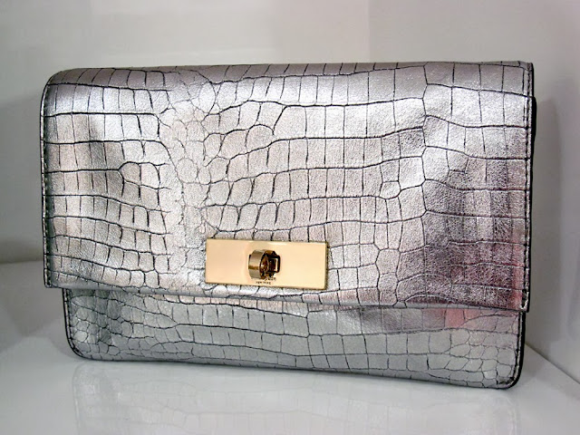 Kate Spade silver croc purse