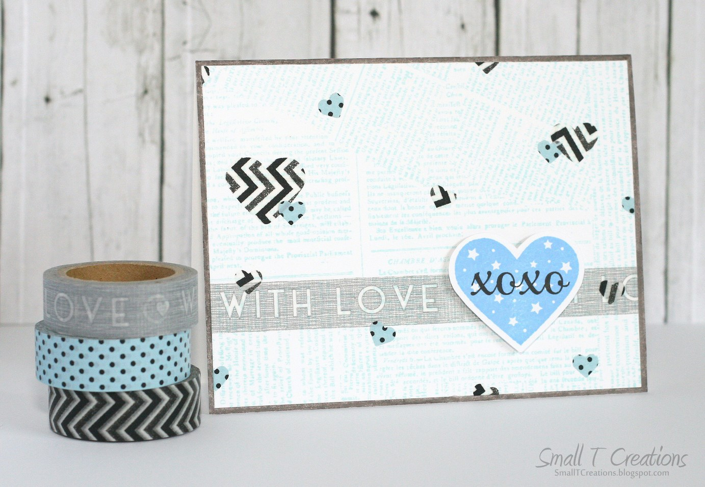Small T Creations: Masculine Love Card with Washi Tape Hearts. Washi tapes from www.washitapes.nl #washitape #maskingtape