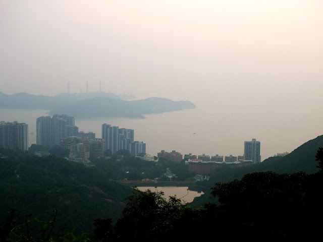 View of Hong Kong island, inc reservoir, at sunset from The Peak