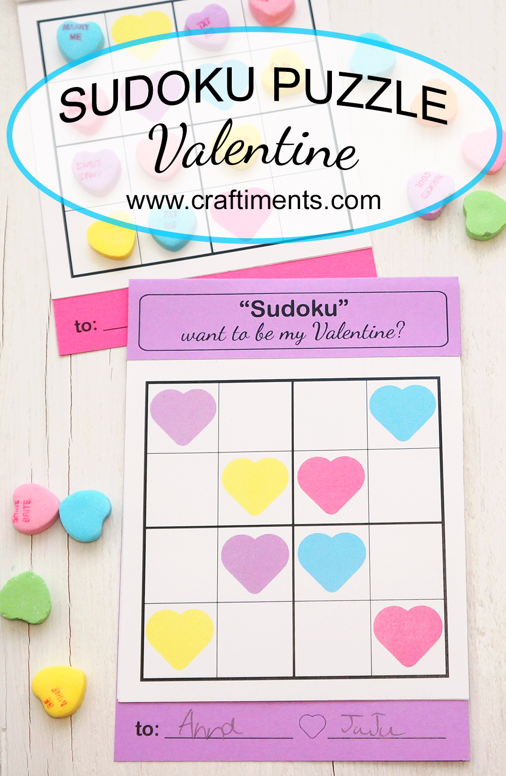A unique Sudoku puzzle valentine for kids.  Includes printable templates and assembly instructions.