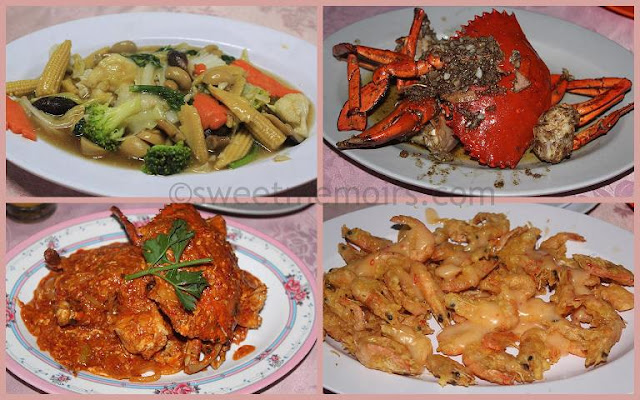 cap cai, black pepper crab, chili crab and golden prawn mayonnaise from golden prawn restaurant, batam island