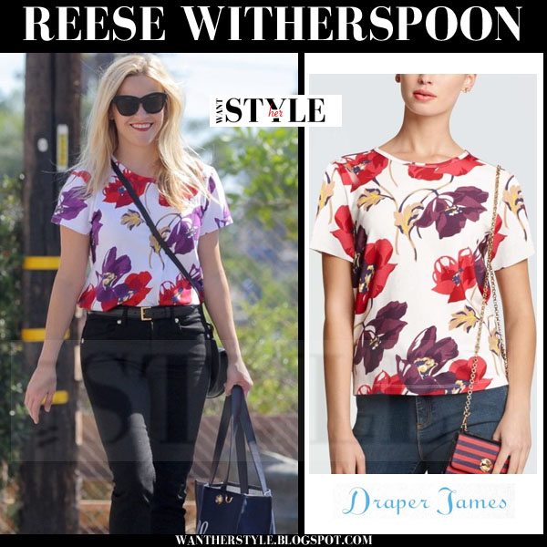 Reese Witherspoon in white floral print short sleeve Draper James top what she wore streetstyle