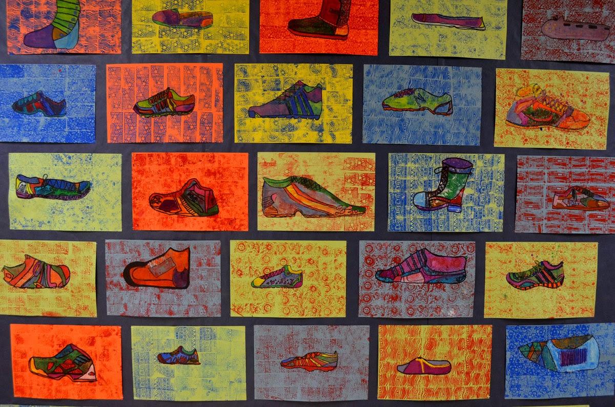 5th grade pop art shoe project