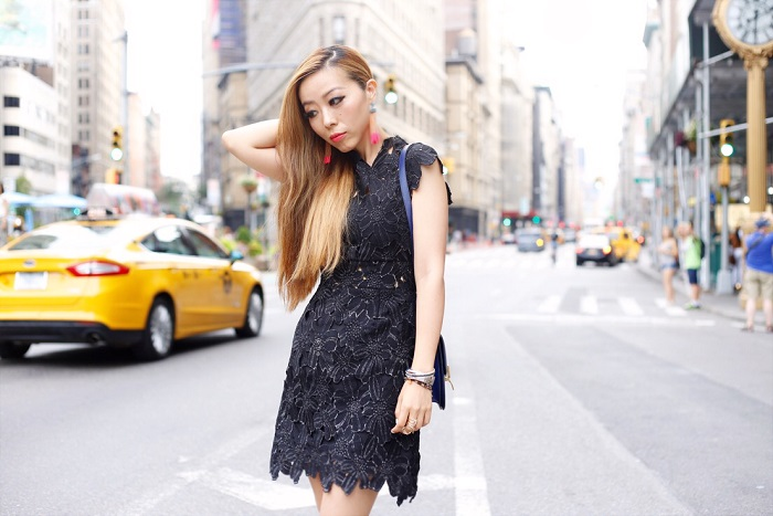 Saylor piper dress, lace LBD, LBD, celine classic box bag, hermes bracelet, baublebar tassel drops, jeffrey campbell wedges, street style, fashion blog, new york city flatiron, flat iron building, date night outfit