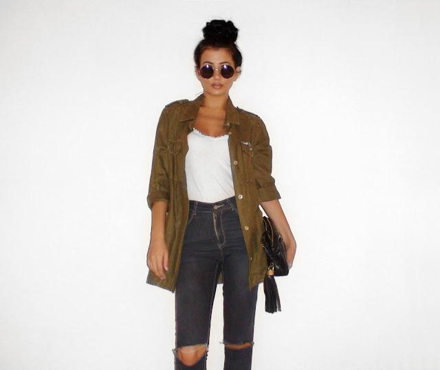 khaki jacket outfit ideas