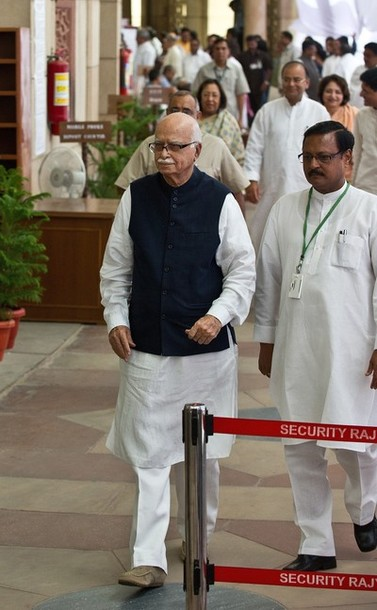 Senior BJP Leader Sh. Lal Krishna Advani, accompanied by Sh. Satya Pal Jain, leaves after casting his vote at Presidential Election at Parliament House in New Delhi. | AFP/GettyImages/Prakash Singh
