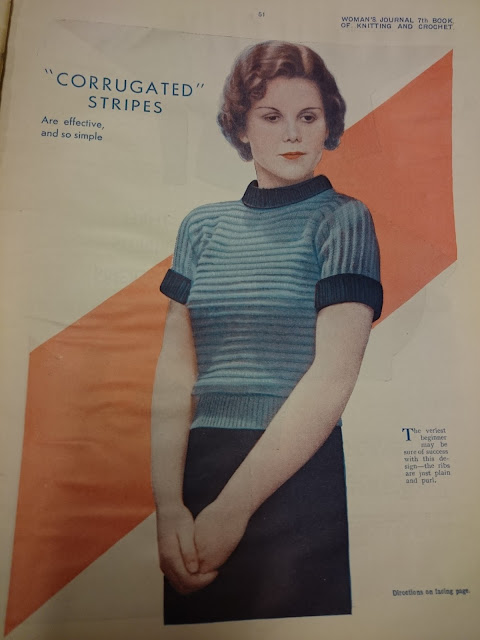The Vintage Pattern Files: Free 1930's Knitting Pattern - Corrugated Stripes