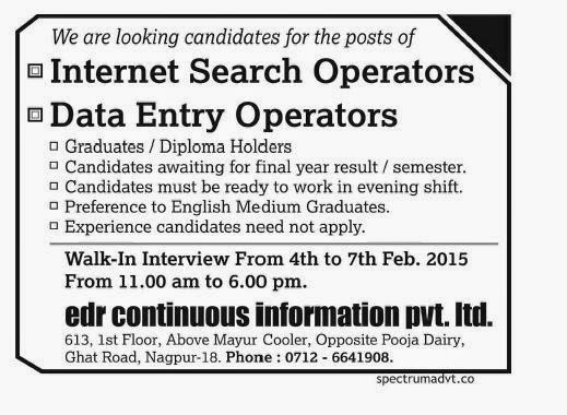 Walk-In-Interview Data Entry operators Nagpur,2015
