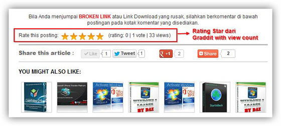 Rating Stars Dengan View Count
