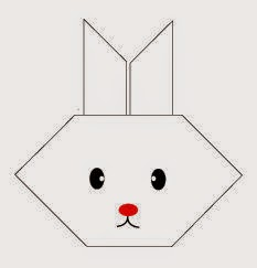Bước 8: Vẽ măt, vẽ mũi, mồm để hoàn thành cách gấp mặt con thỏ giấy origami.