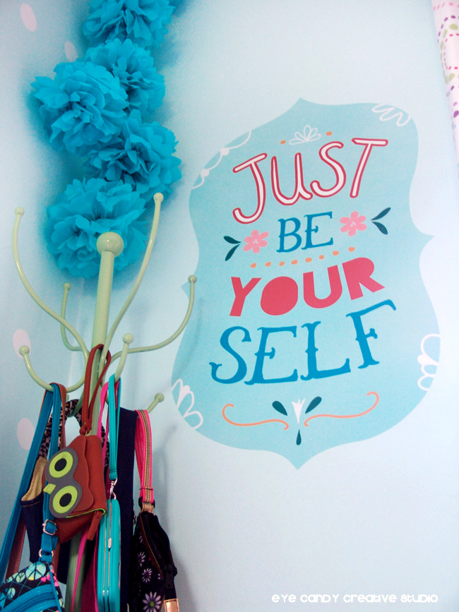 coat rack, purses, tween room makeover, wallternatives, just be yourself