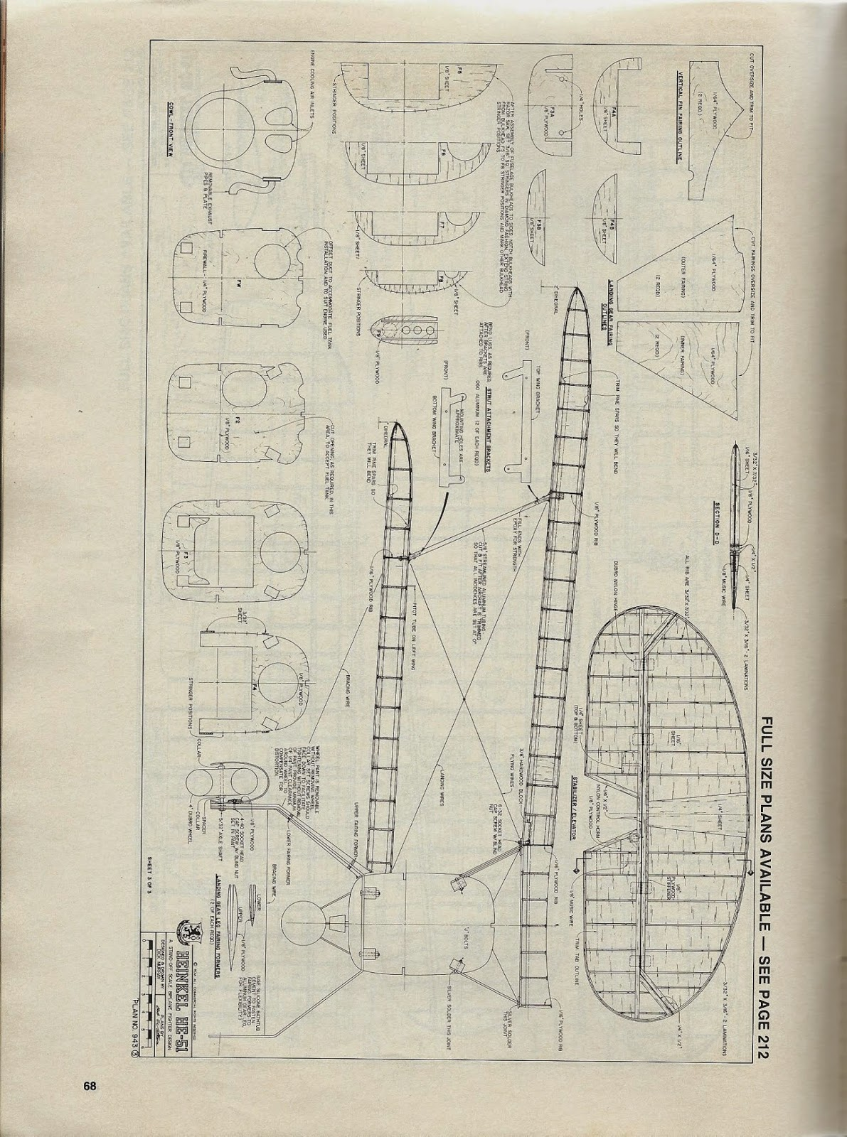 Rcm heinkel he 51 article and plan r c modeler plan for Plan 51