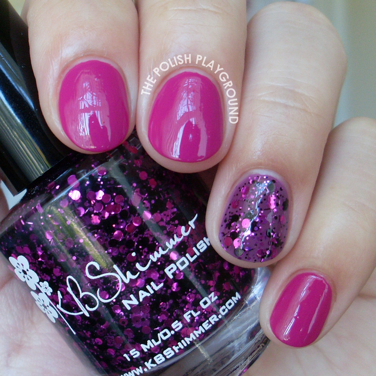 Revlon Rich Raspberry with Glitter Accent Nail Art