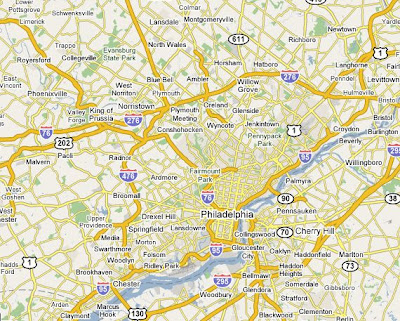 Map of Philadelphia and outlying areas