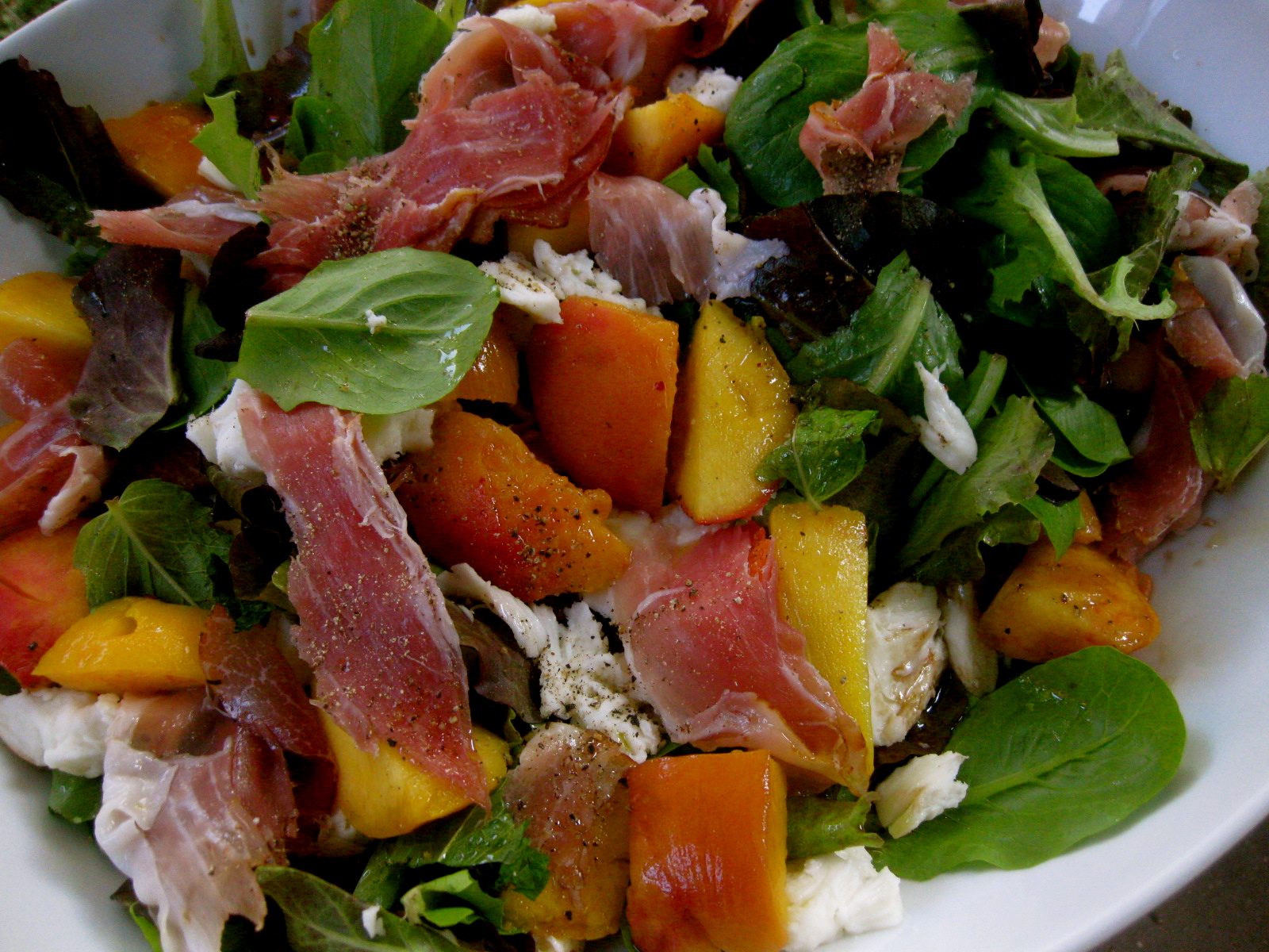 Inspired Kara: Peach, Mozzarella and Prosciutto Salad