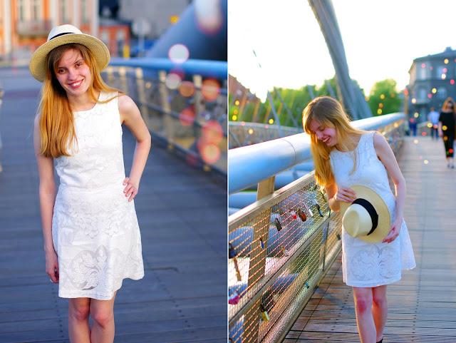 koronkowa sukienka,kapelusz słomkowy, h&m, lato Kraków, moda, inspiracje