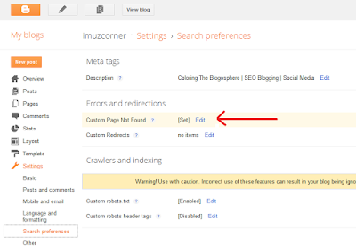 Setting Custom Page Not Found Blogger