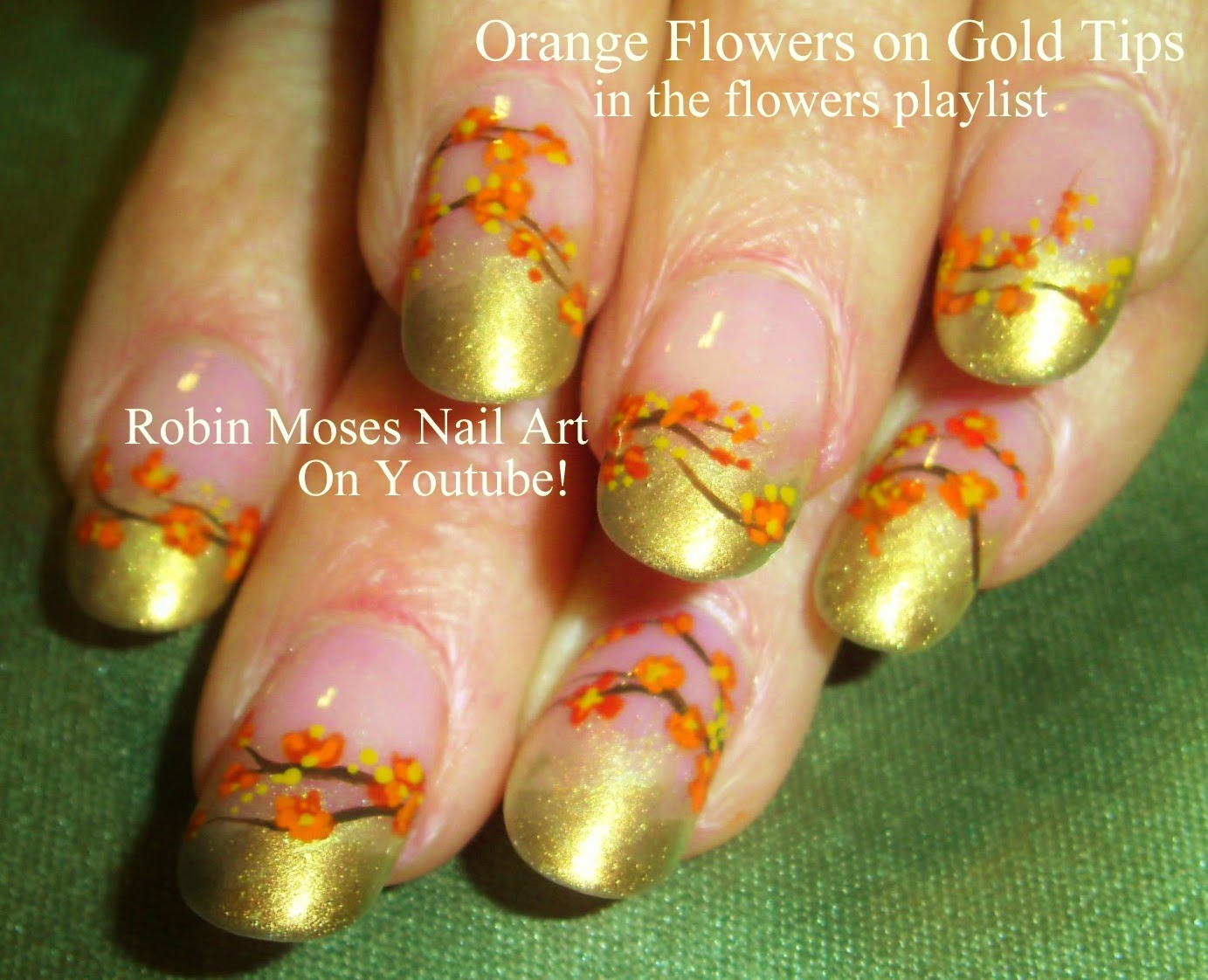 Nail Art By Robin Moses Orange Flowers Nail Art Orange Flower