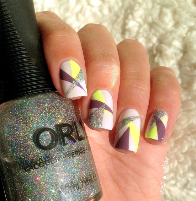Orly Sugar High Geometric Nail Design Mirrorball
