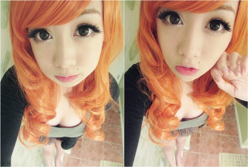 Get Enticing Looks with Lolita Wig Orange & Holicat Hazel Contacts