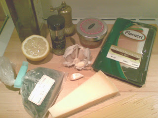 Prosciutto, parmesanost, persilja med mera